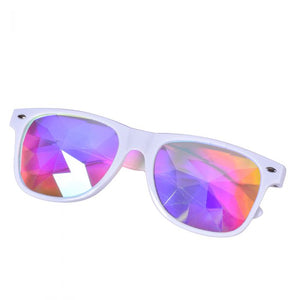 White Frame Wayfarer Kaleidoscope Glasses