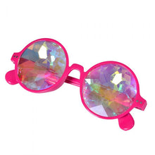 Load image into Gallery viewer, Neon Pink Round Frame Kaleidoscope Glasses