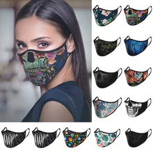 Load image into Gallery viewer, Floral & Tonal Mouth Masks – Black Tonal