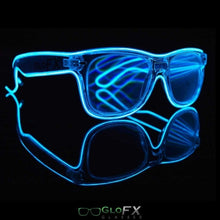Load image into Gallery viewer, GloFX Ultimate Diffraction Glasses with clear frames, clear lenses and blue luminescence.