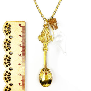 Roman Reef Spoon with Glass Cork Vial Chain Necklace - Gold