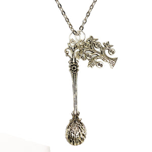 Sophisticated Decadence Spoon with Money Tree 🤑🌲 Chain Necklace - Silver
