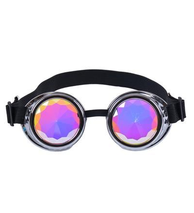 Silver Steampunk Goggles with Kaleidoscope Lenses