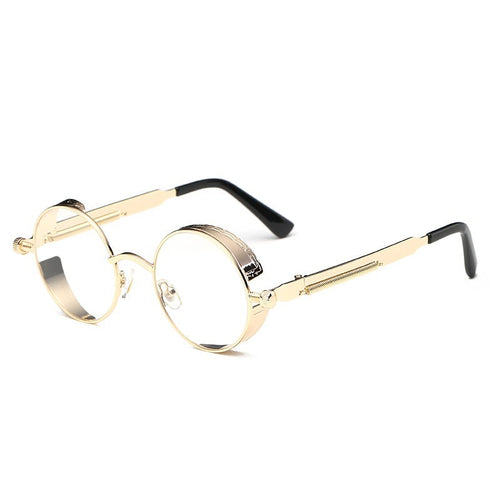 Steaming - Men's Steampunk Party Sunglasses - Gold Frames + Clear Lenses
