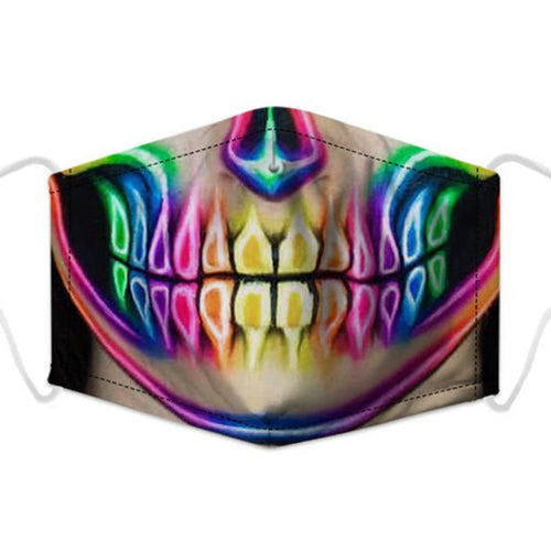 Artistic Mouth Masks with Air Filter - Rainbow Skull