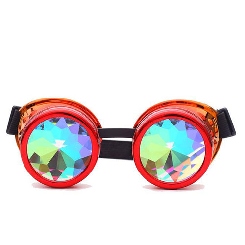 Red & Orange Fusion Goggles with Rainbow Kaleidoscope Lenses