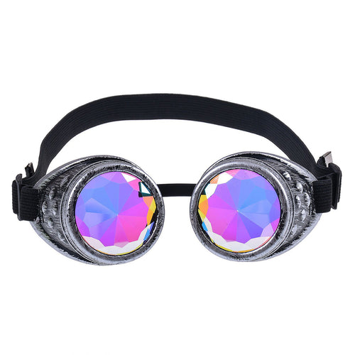 Chrome Silver Steampunk Goggles with Kaleidoscope Lenses