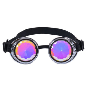Chrome Silver Steampunk Goggles with Kaleidoscope Lenses 🔮 (X Range)