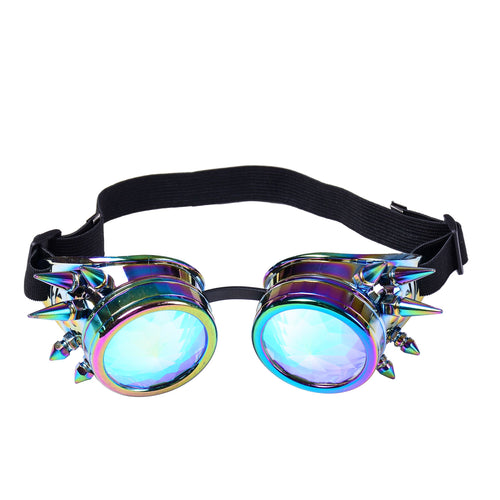 Neon & Silver Spike Steampunk Goggles with Kaleidoscope Lenses
