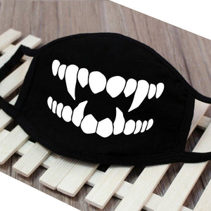 Black Grin-Face Mouth Coverings - Panther