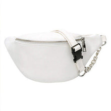 Load image into Gallery viewer, Leather Look Waist Bag ft. Silver Chain & Zipper - All Colours (2)