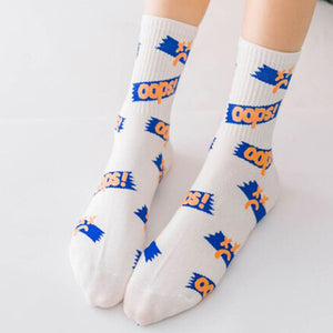 Oops! ❌ Socks - White & Blue