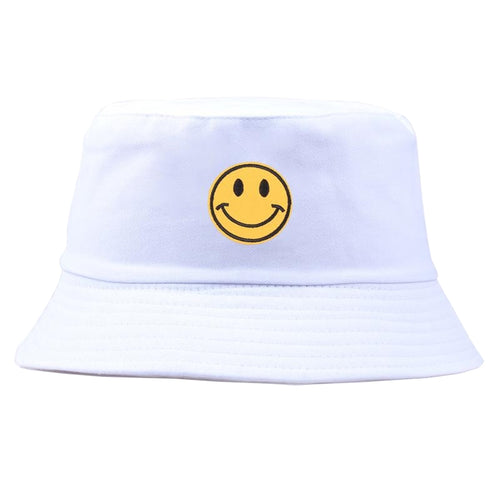 Yellow Smiley Face Bucket Hat - White