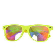 Load image into Gallery viewer, Neon Yellow Frame Wayfarer Kaleidoscope Glasses