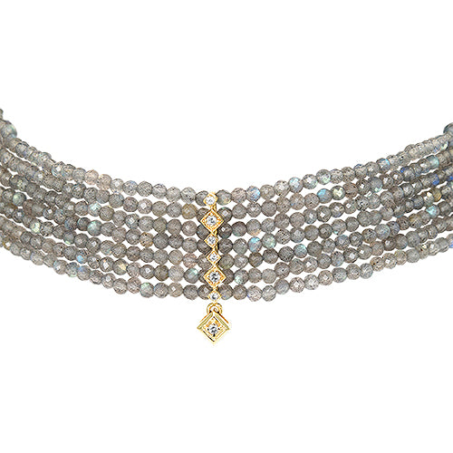 Labradorite and Diamond Choker