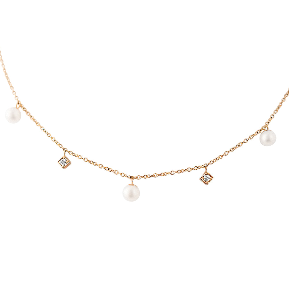 Diana Pearl and Diamond Necklace