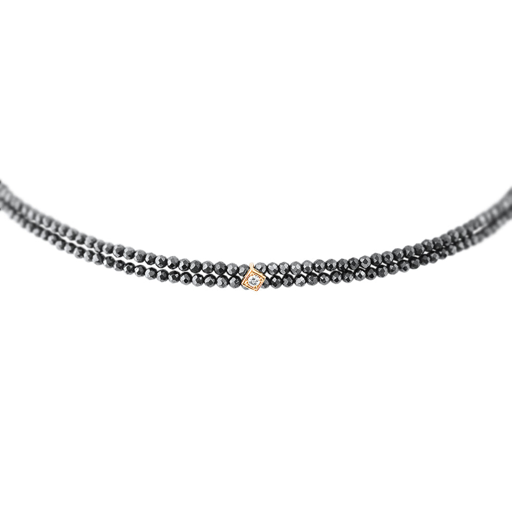 Black Spinel Choker with Diamond