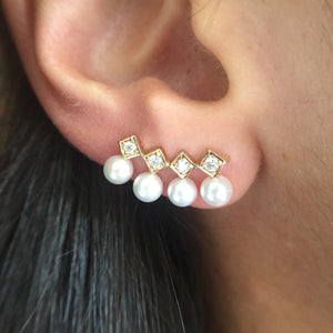Diana Pearl and Diamond EarClimbers