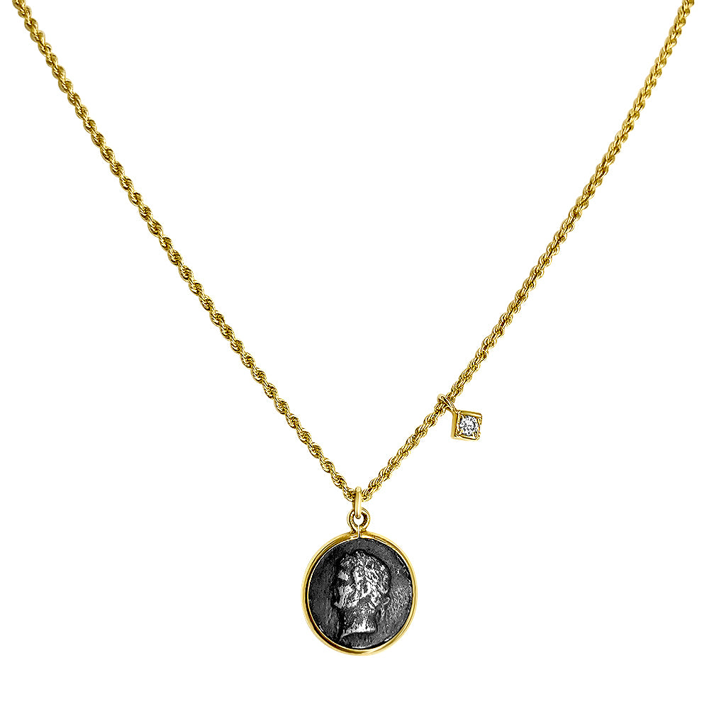 Greek Coin Necklace with Diamond Charm