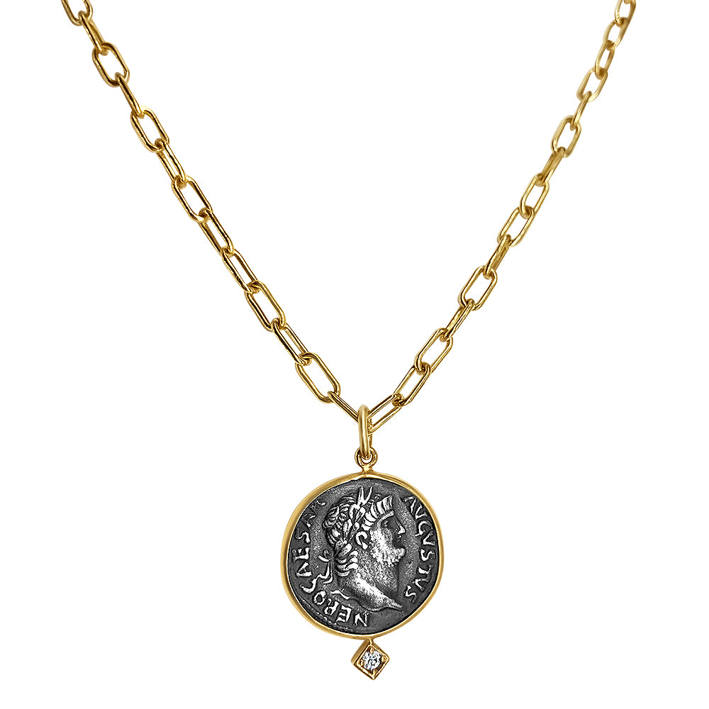 Large Greek Coin Necklace with Diamond Motif