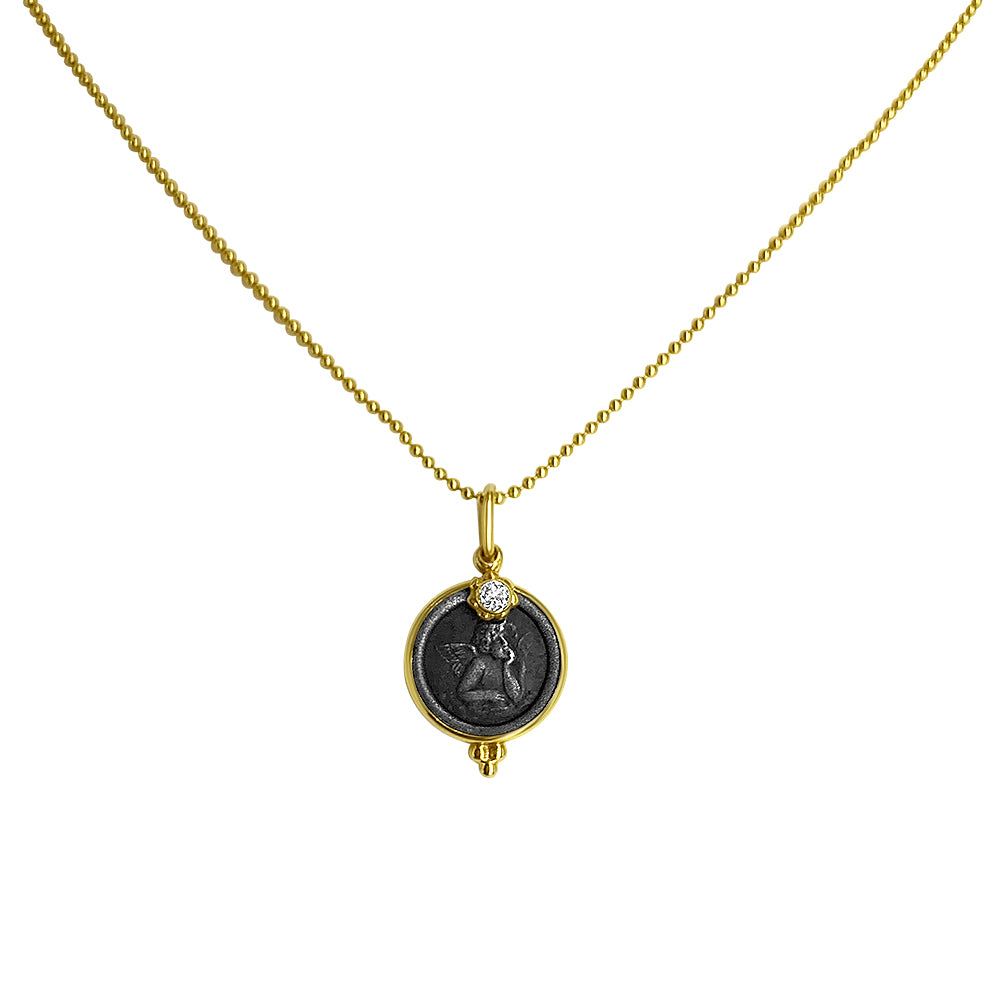 Angel Coin Necklace with Diamond Charm