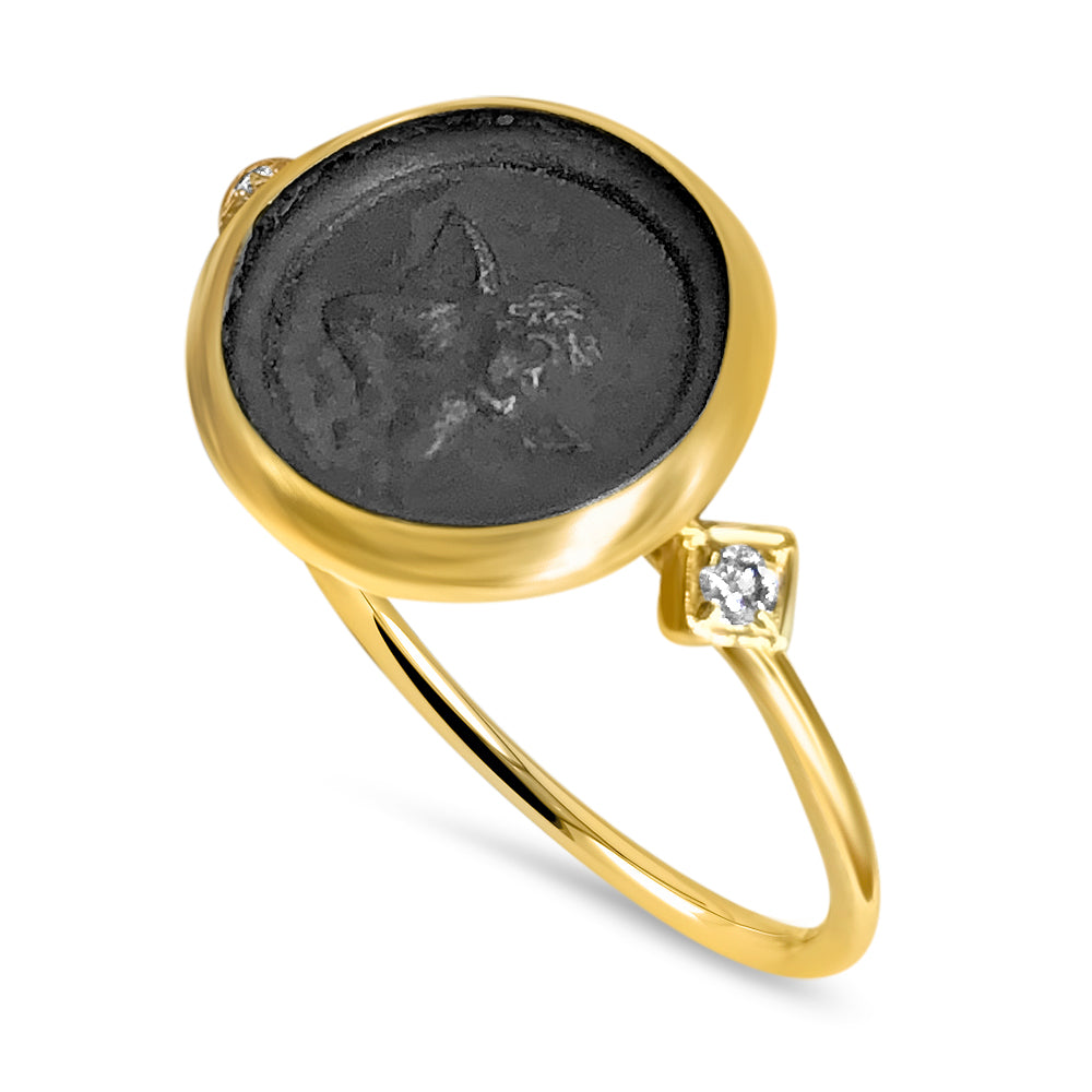 Angel Coin Ring with Diamonds