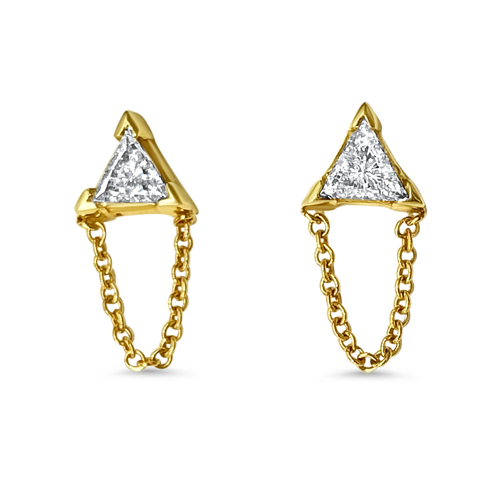 """Tri""angle Diamond Studs with Chain Dangle"