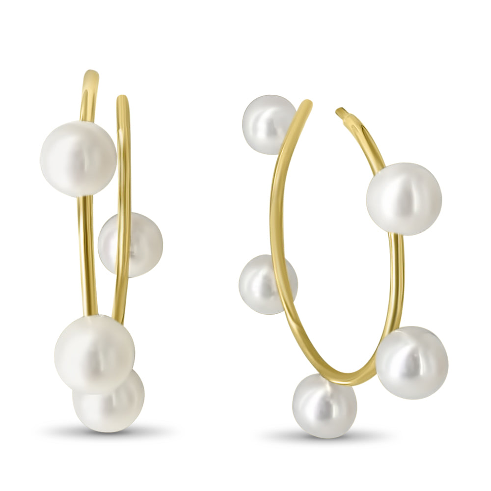 Small Diana Pearl Hoops with Post