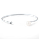 Diana Open Large Pearl and Diamond Bangle