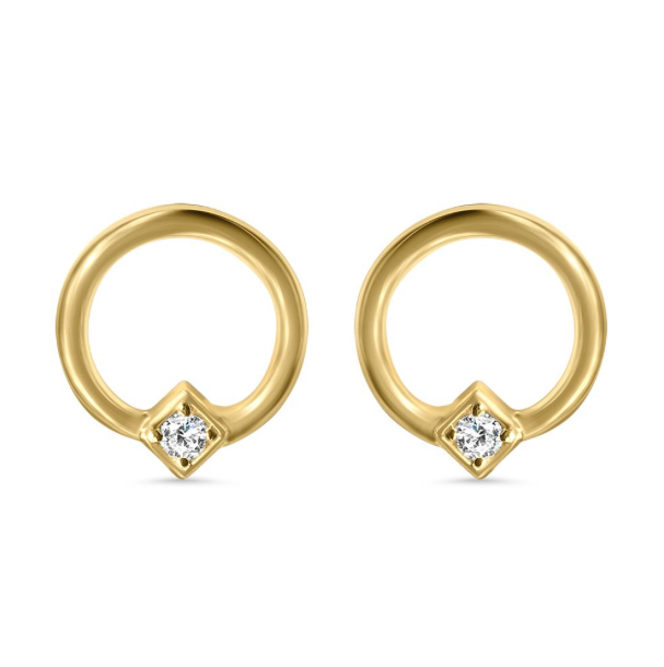 Round Hoop and Diamond Motif Stud (mini)