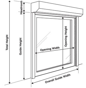 measuring guide for roll shutters