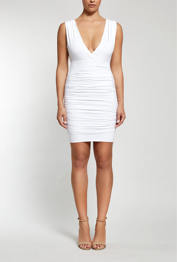 Ruler Ruche Dress | White