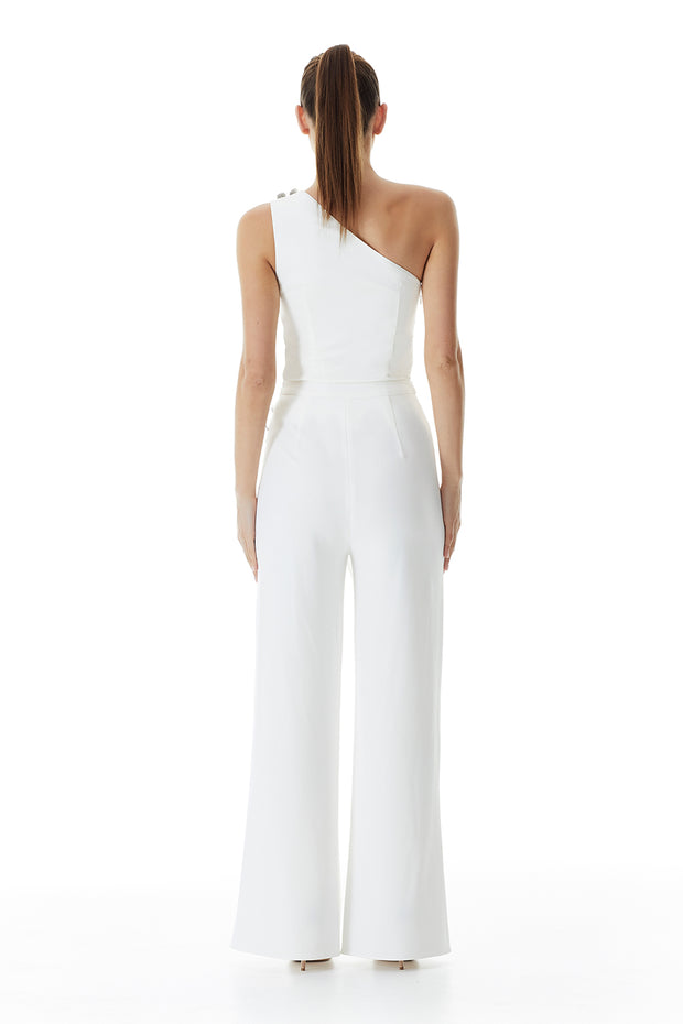 Windsor Wrap Wide-Leg Pant | White