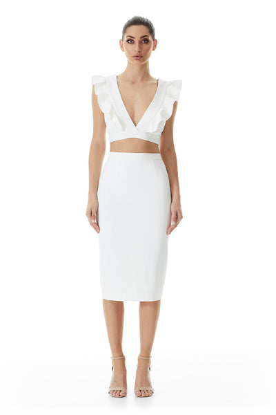 The Abbey Ruffle Crop | Ivory