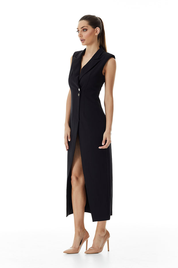 Valentina Lapel Coat Dress | Black