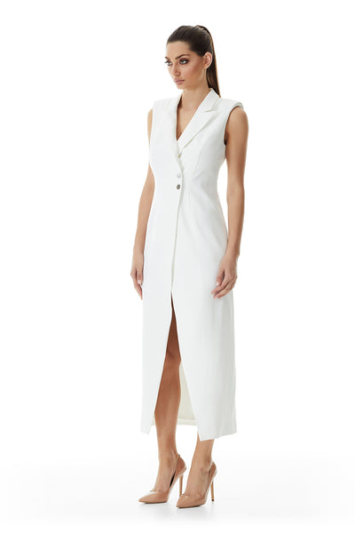 Valentina Lapel Coat Dress | Ivory