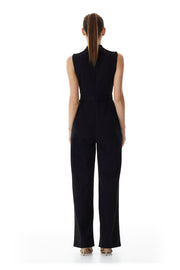 Windsor Wrap Wide-Leg Pantsuit | Black