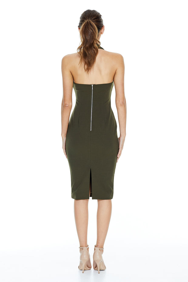Zia Halter Midi Dress | Army Green