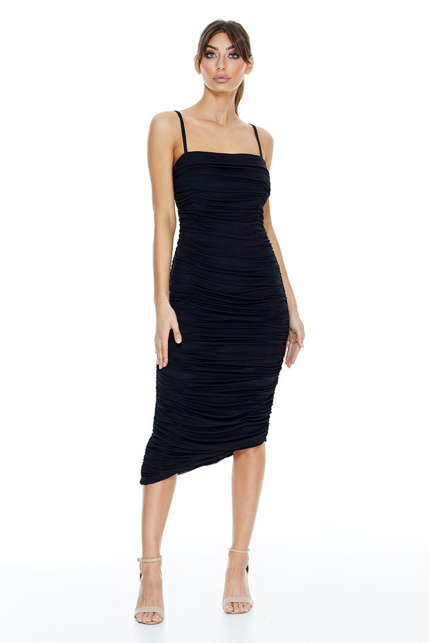 Stella Ruched Midi Dress | Black