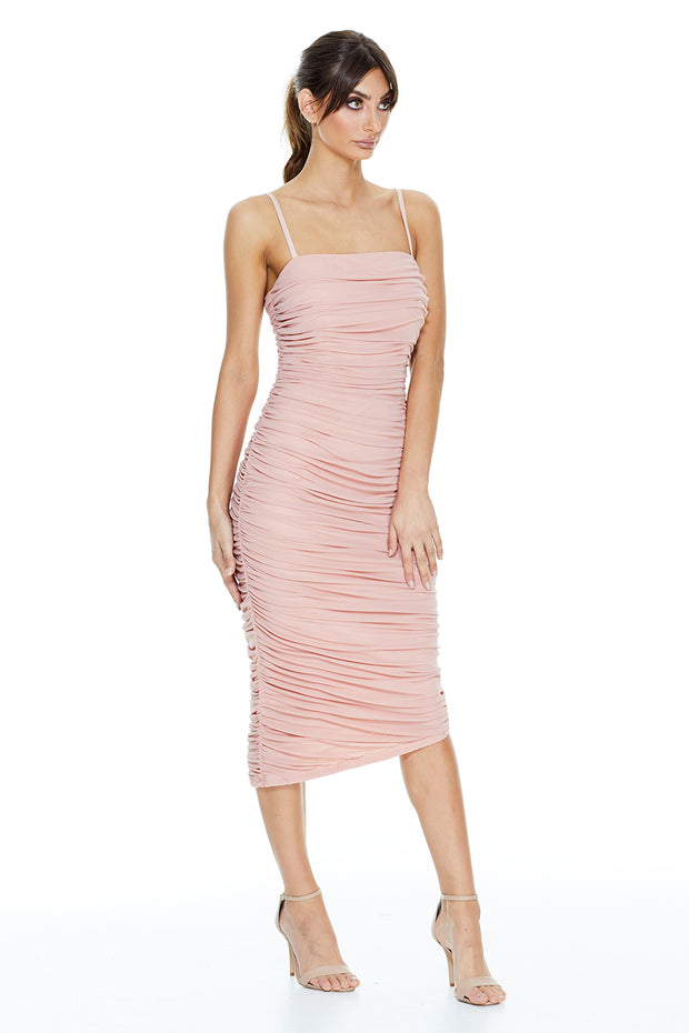Stella Ruched Midi Dress | Blush