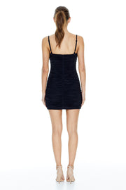 Pia Ruched Mini Dress | Black