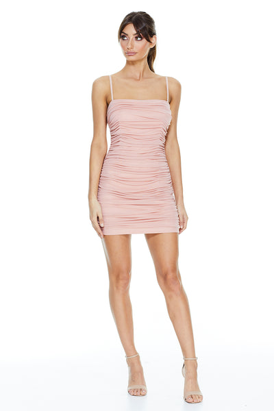 Pia Ruched Mini Dress | Blush