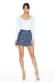 Adele Tweed Shorts | Blue Tweed