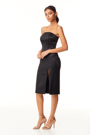 Scarlette Strapless Midi Dress | Black