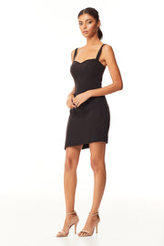 Kinsley Asymmetrical Mini Dress | Black