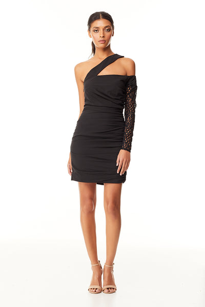 Mckenszi Ruched Mini Dress | Black