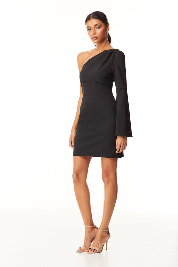 Zeva One Shoulder Mini Dress | Back