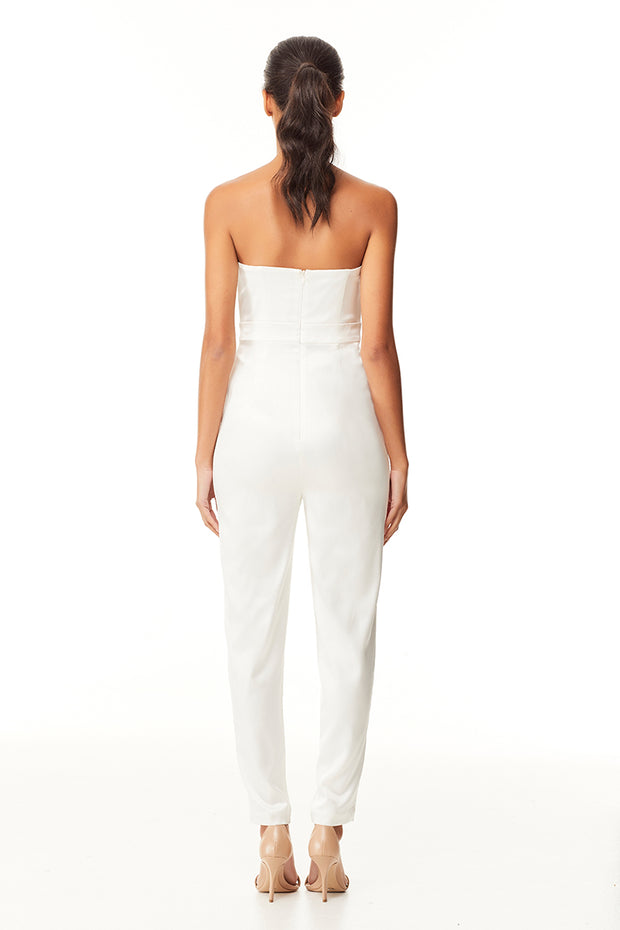 Scralette Strapless Pantsuit | Ivory