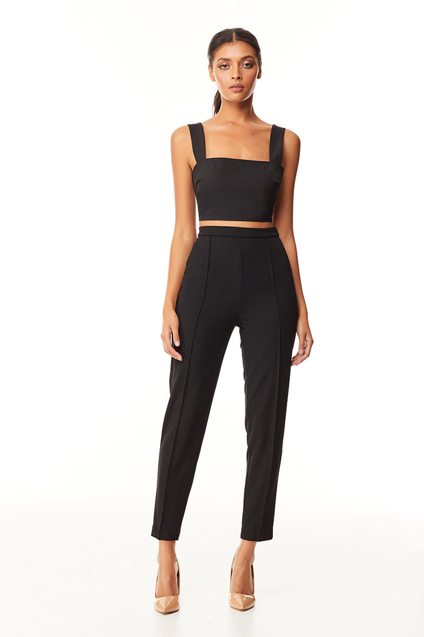 Eva Pin Tuck Slim Pant | Black