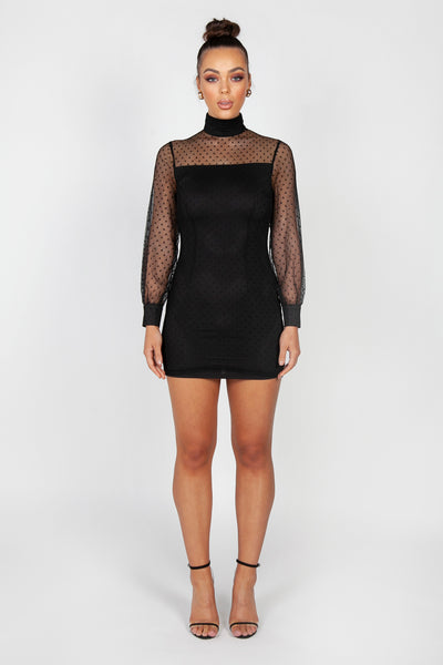 Sofia Lace Mini Dress | Black